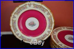 Set Of 8 Antique TV Limoges France Gold Rim Dinner Plates Flowers Scrolls