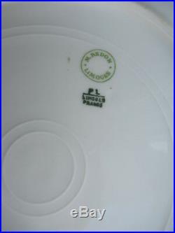 Set of 10 M. Redon 9 5/8 Dinner Plates PL Limoges White, Gold Trim