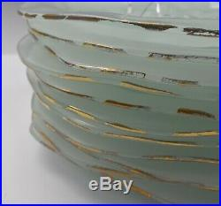 Set of 12 10.75 Annieglass Gold Rim Coquina Shell Pattern Dinner Plates SC-101