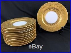 Set of 12 Gold & White Bavarian Porcelain Serving/ Dinner Plates, Circa 1920