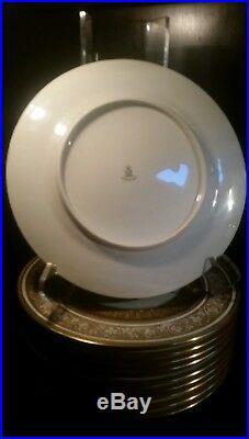 Set of 12 Heinrich & Co. Selb Bavaria Gold Encrusted Dinner Plates 11 Porcelain