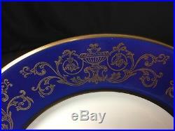 Set of 12 Pickard Ravenswood 914D-500 10&5/8 Dinner Plates Blue Rim Gold