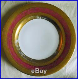 Set of 12 Royal Bavarian Hutschenreuther Selb Dinner plates German gilt gold