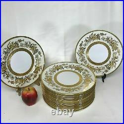 Set of 16 Minton Porcelain Gold Encrusted Dinner Plates
