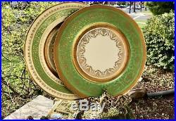 Set of 2 Rare TK Thun Bohemia Czechoslovakia 24K Gold Gilt Green Dinner Plates