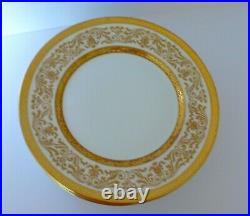 Set of 6 Antique Limoges Bernardaud Raised Gold Porcelain Dinner Plates