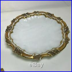 Set of 6 Fine Limoges Rococo Gilt Gold Rim Soup Dinner Plates