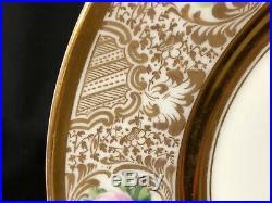 Set of 6 Lamm Dresden 10&1/4 Dinner Plates Pink Fuchsia White Roses Gold Gilt