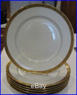 Set of 6 Limoges Raynaud Ambassador Gold Encrusted Dinner Plate 10 3/4