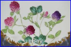 Set of 6 T & V Limoges France Clover Flowers & Gold Dinner Plates C. 1907-1919