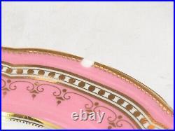 Set of 6 Vintage Pink Rim and Gold Hand Painted Floral Porcelain Plates 9