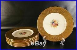 Set of 8 Antique Atlas China 22 karat gold Dinner Plates