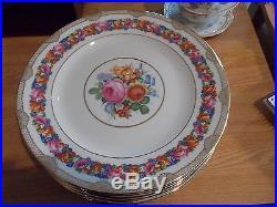 Set of 8 BAVARIA Dinner Plates Floral Rim, Floral Center, Gold Trim
