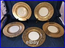 Set of 8 Gordons Belleek Gold Encrusted Dinner Plates 11 1/8 Dia