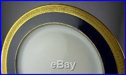 Seven Redon Limoges China Antique Cobalt & Gold Encrusted Dinner Plates