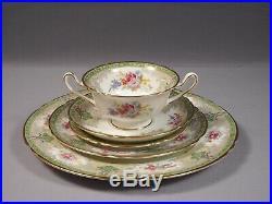 Shelley Georgian Green Dinner Set Plate Cream Soup Bowl 13360 Gold Trim Signed