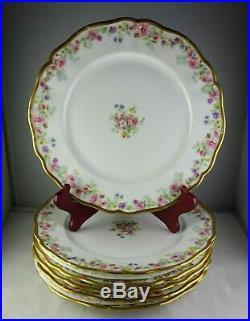 Six Ahrenfeldt Limoges Antique Porcelain Dinner Plates Roses & Gold Trim