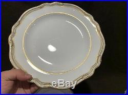 Spode Copeland's Sheffield Dinner Plates England R568 11 Dia Gold White Set 8