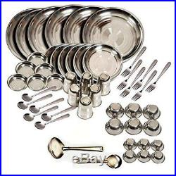 Stainless steel Dinner Set of 50 Glass Curry Bowl Desert bowl Spoon Quater Plate