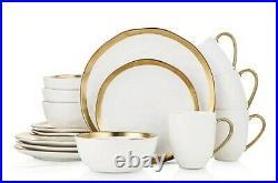 Stone Lain Dinnerware Set 16 Piece Gold Rim White Dinner Place Setting BLB0454