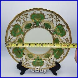 Stunning Set of 12 Green & Gold Noritake China Dinner Plates