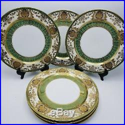 Stunning Set of 6 Noritake Service Cabinet Porcelain Dinner Plates Green & Gold