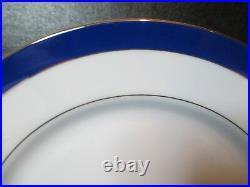 Tuchikichi Adam & Eve Cobalt Blue & Gold Trim 8 Dinner Plates 10 3/8