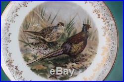 VINTAGE SET 12 H&C HEINRICH Game Birds CHARGER SERVICE DINNER PLATES GREEN GOLD