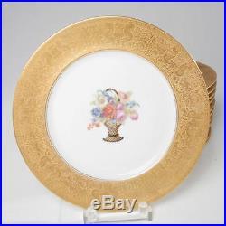 VINTAGE SET OF 12 HEINRICH & CO PORCELAIN DINNER PLATES With GOLD ENCRUSTED BAND