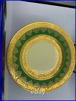 VINTAGE Set of 4 Heinrich & Co Green Gold Encrusted Bavaria 11 Dinner Plates