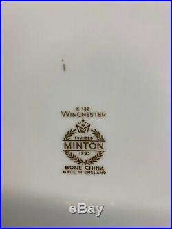 VTG Minton Winchester Demitasse K132 Gold Trim Dinner Plates 10 Set Of 6 Rare