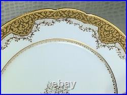 Vintage Charles Ahrenfeldt Limoges Porcelain Set Of 6 Dinner Plates 10'' Gold