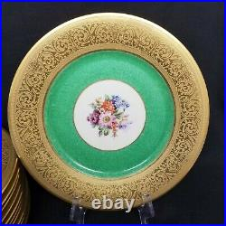 Vintage Gold & Green Ringed with Floral Center Bailey, Banks & Biddle Co. 10 1/2