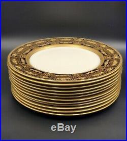 Vintage Lenox Raised Gold Encrusted Cobalt Blue 10.5 Dinner Plate #1830/X. 114. B