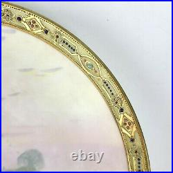 Vintage Nippon Hand Painted Gold Moriage 10 Plate Fishing Scene Free Shipping