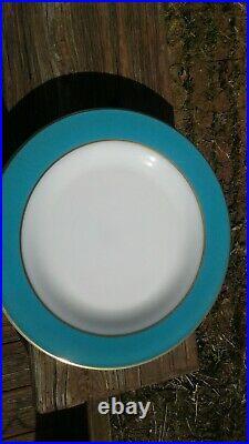 Vintage Pyrex TURQUOISE AQUA GOLD TRIM 16pc Dinner & Salad Plates Cup Saucers