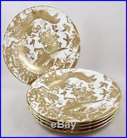 Vintage Royal Crown Derby Gold Aves 10¼ Dinner Plates X 5 1st Excellent