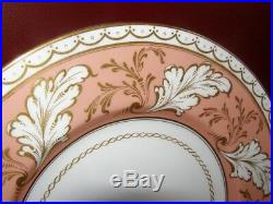 Vintage Royal Worcester Set of 9 Dinner Plates Peach & Gold Colour Border