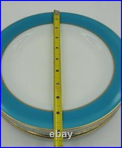 Vtg 50s Pyrex Dinnerware Turquoise Blue Gold Rim 10 Dinner Plate VGC Lot of 6