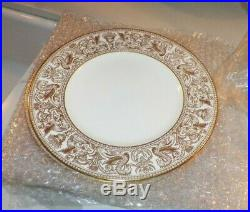 Wedgwood Bone China Gold Florentine W4219 Set Of Six (6) Dinner Plates 10 3/4