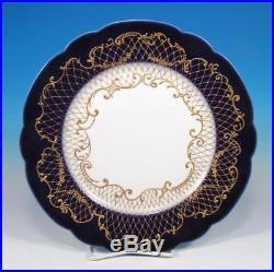 Wm Guerin Limoges SET (5) Antique Nouveau Porcelain Cobalt A+ Gold Dinner Plates