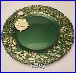 X4 Ackam Turkish Glass Christmas Charger Dinner Plates 13 Green Gold Poinsettia